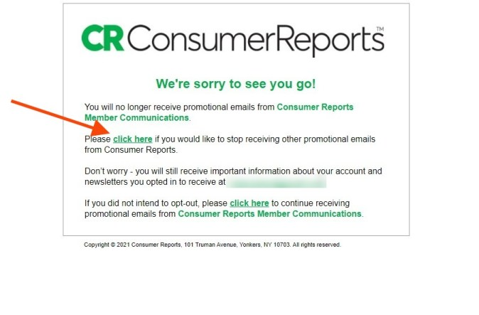 Consumer Reports unsubscribe page highlighting click here link text on page.