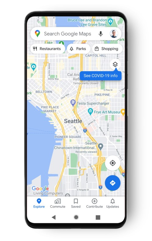Google map of Seattle shows layer to see COVID-19 info for area.