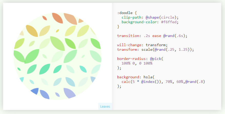 A circile of multi-colored leaves with CSS code used to create it