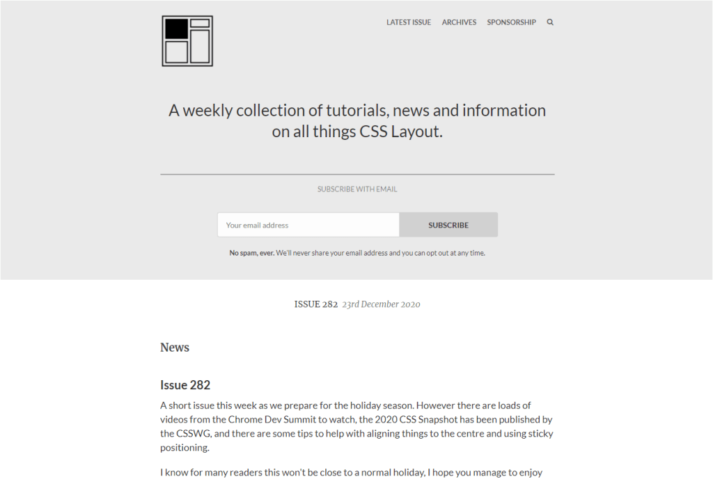 CSS Layout Newsletter