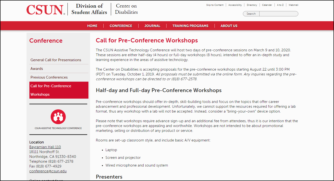 Call for Pre-conference Workshops at CSUN 2020 conference