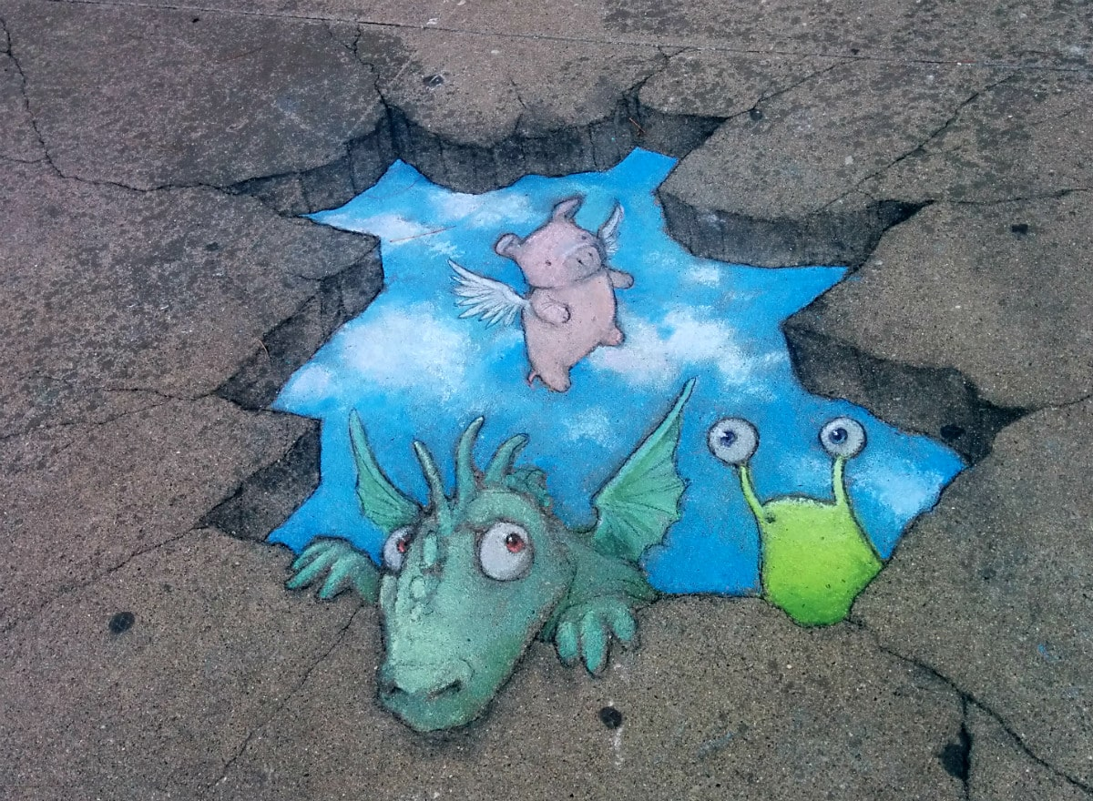 David Zinn's finished street art on sidewalk in front of Masonic Temple