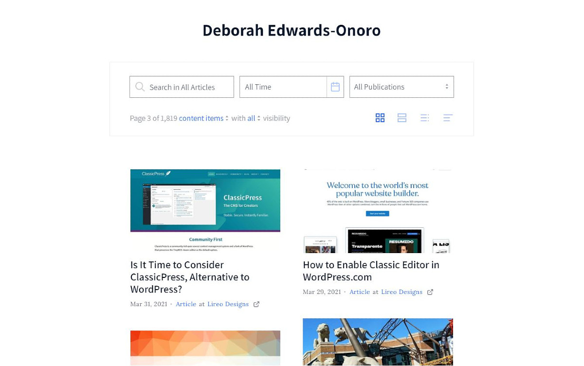Authory portfolio page showing a two-column grid of articles, each with title, image, date published, and source.