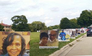 Hundreds of photo posters line Belle Isle State Park in a memorial drive.