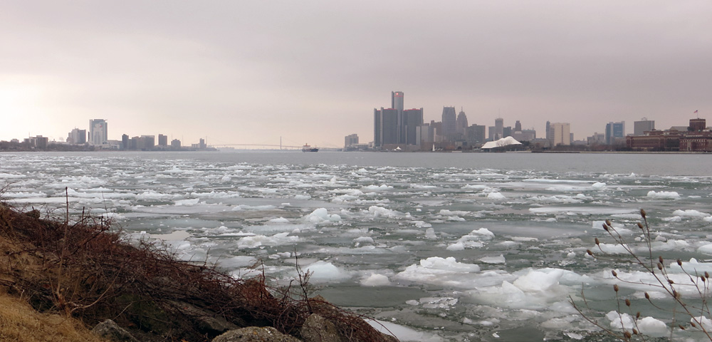 View of downtown Detroit from Belle Isle, with ice floating in the Detroit River