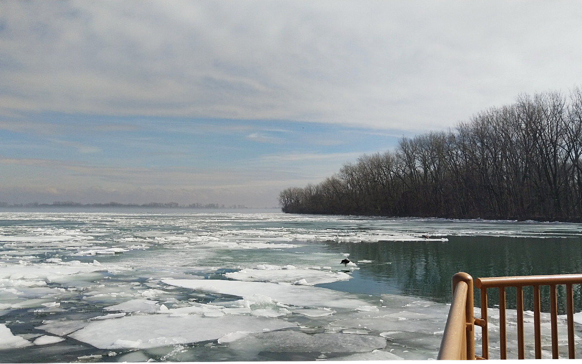 white ice sheets float down the blue open water of the Detroit River as it flows past Mud Island in Ecorse, Michigan.