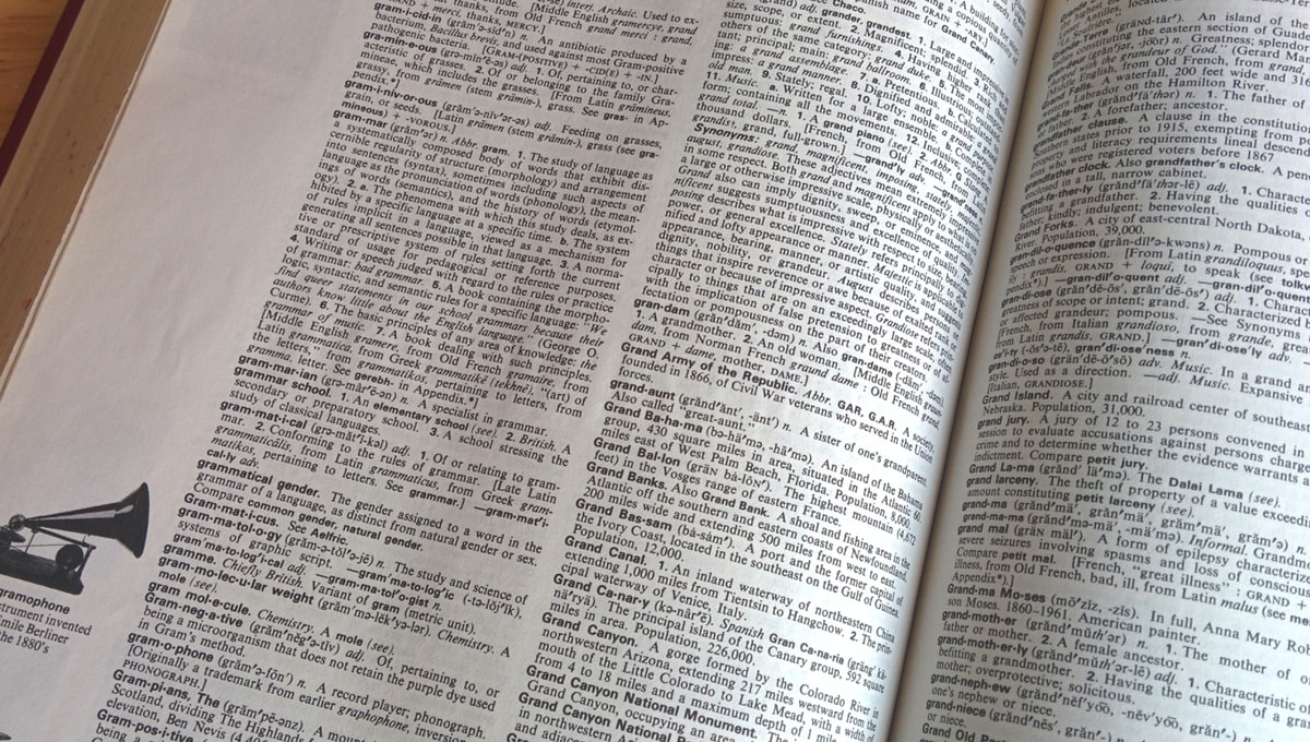 dictionary opened to the page containing the word grammar