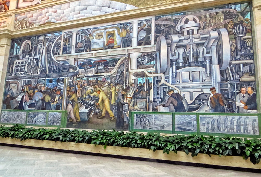 Detroit Industry mural, south wall depicting Detroit factory workers on the assembly line building automobiles