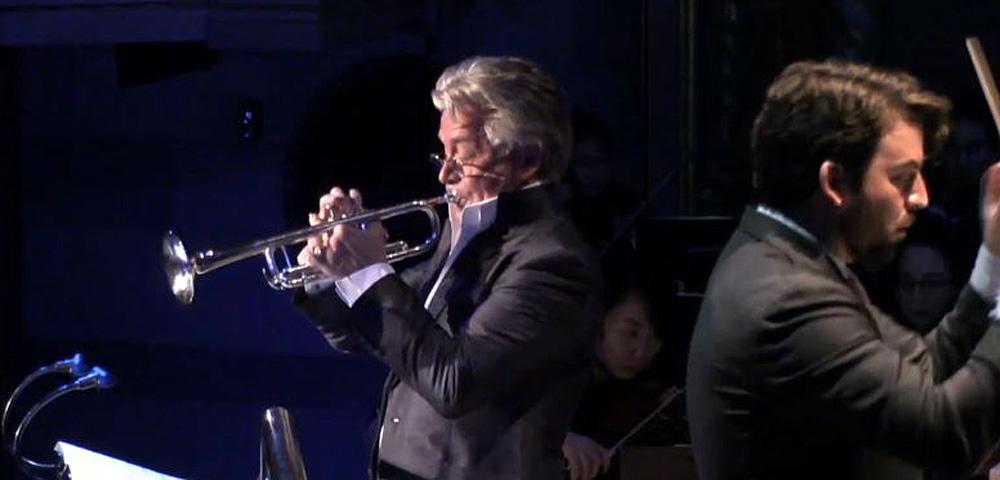 Detroit Symphony Orchestra trumpet soloist Håkan Hardenberger and conductor James Gaffigan