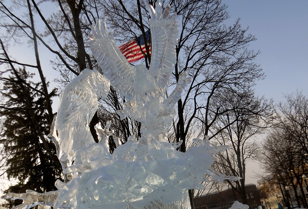 Eagles ice sculpture with American flag in the back