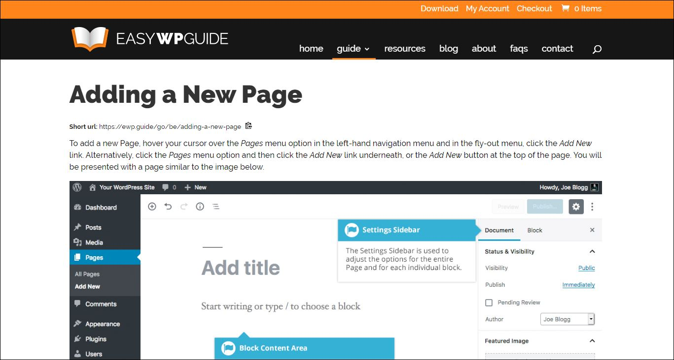 How to add a new page in WordPress, using the Block Editor.