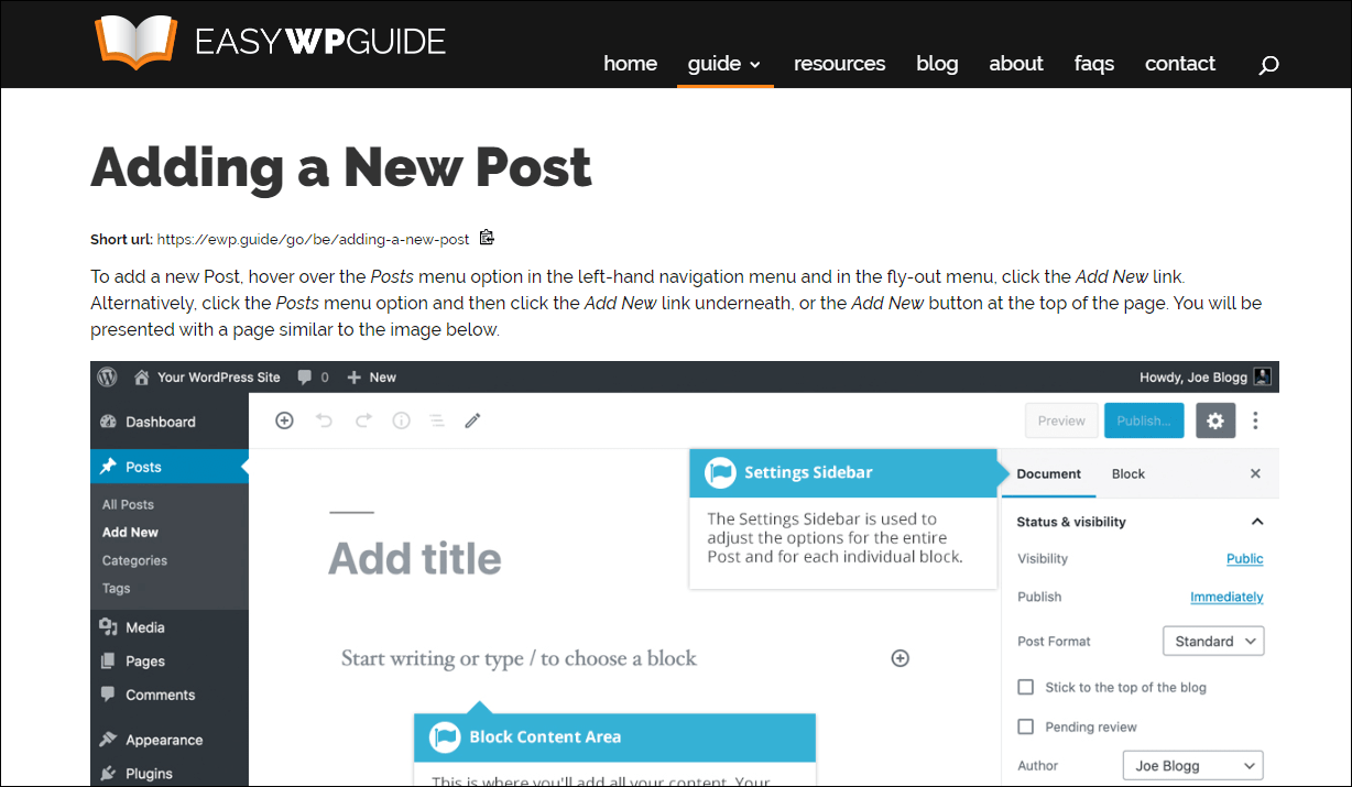 Easy WP Guide step-by-step add a post instructions