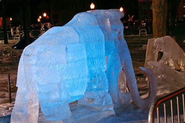 mastodon ice sculpture with blue lighting