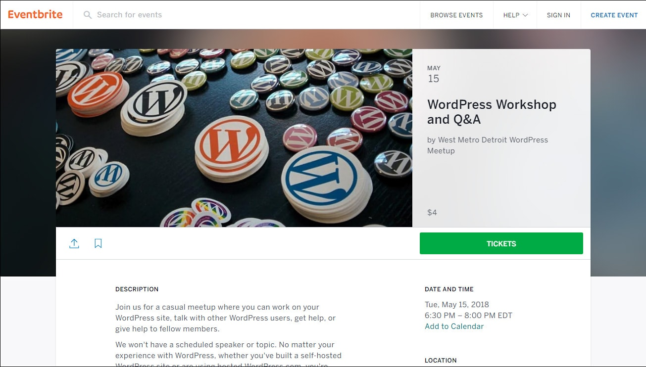 Eventbrite post for May 2018 West Metro Detroit WordPress event