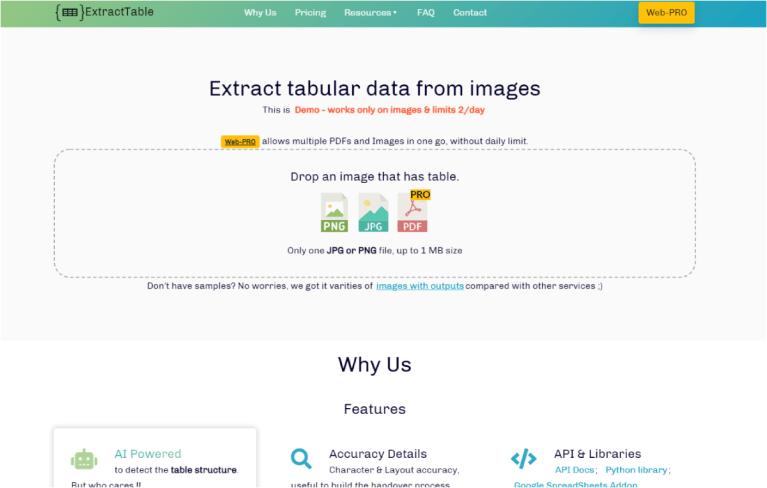 Home website page of ExtractTable highlighting features and drag-and drop feature to extract table content.
