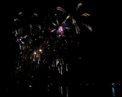 Multi-color fireworks in the dark sky