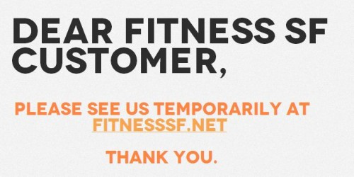 Fitness SF message about temporary website location