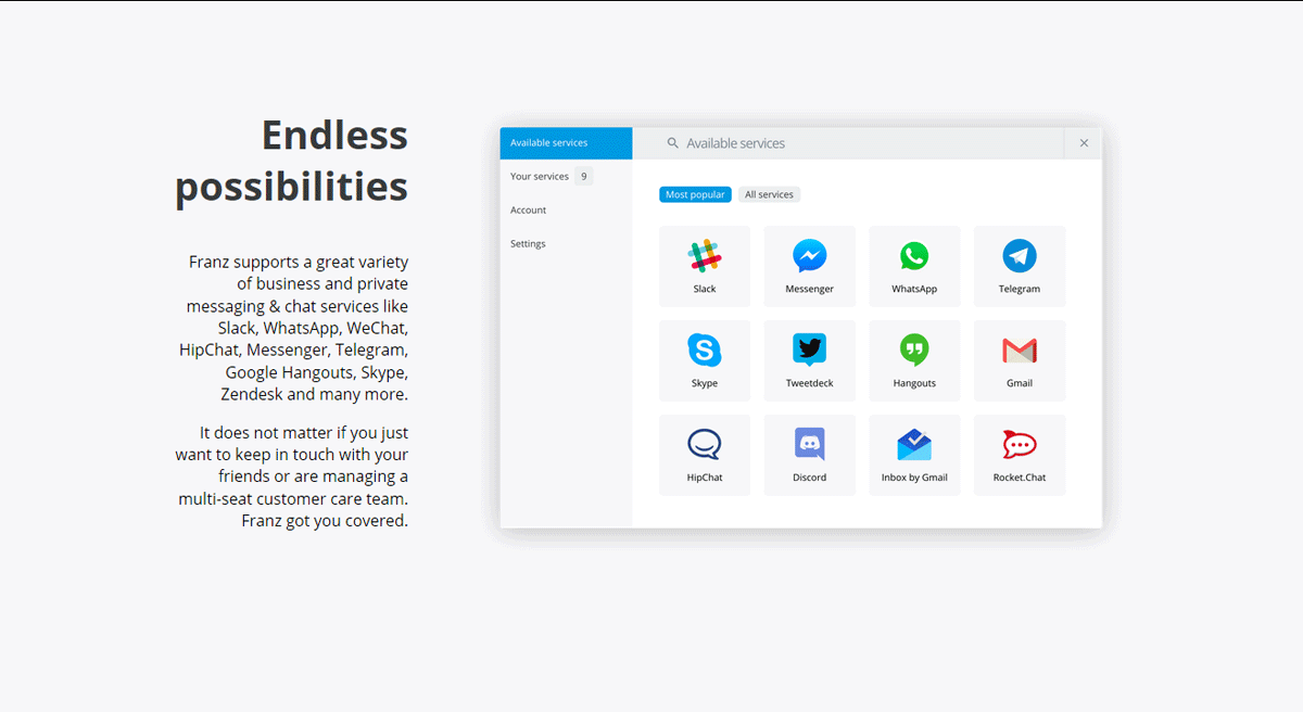 screenshot of Franz most popular services, listing Slack, Messenger, WhatsApp, Skype, and others