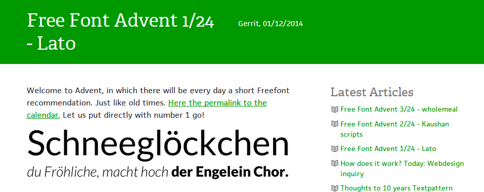 Free Font Advent calendar