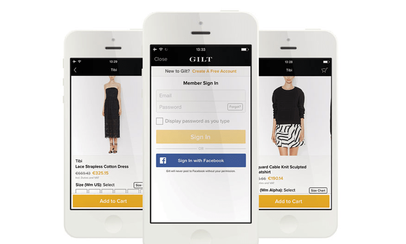 Gilt application sign in on iPhone