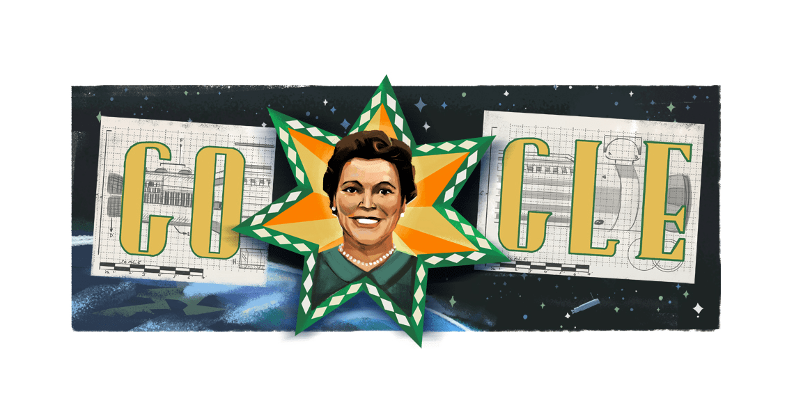 Mary Ross portrait emblazoned on a star, with the starry night sky behind the portrait
