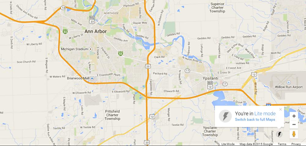 Google Lite map of Ann Arbor Michigan