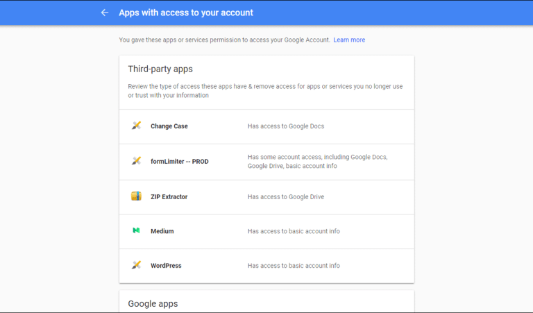 list of sites and apps with access to a Google account