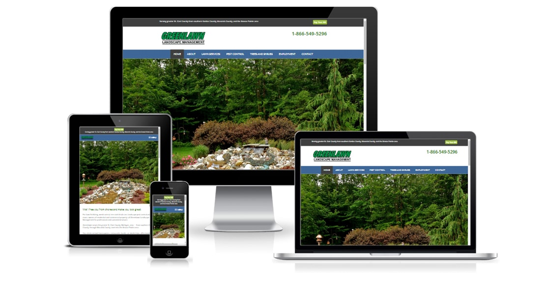 Greenlawn Landscape Management website displays on phone, table, laptop, and large monitor
