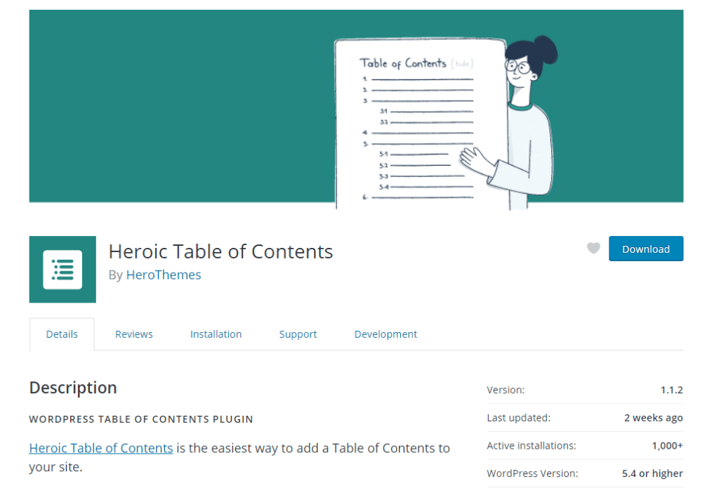 Heroic Table of Contents WordPress repository home page.