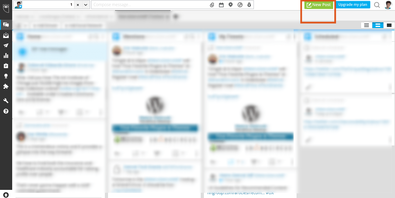 Hootsuite interface displaying New Post option.
