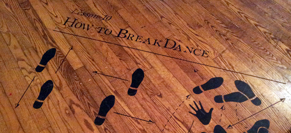 How to break dance showing shoe silhouettes for movement between steps