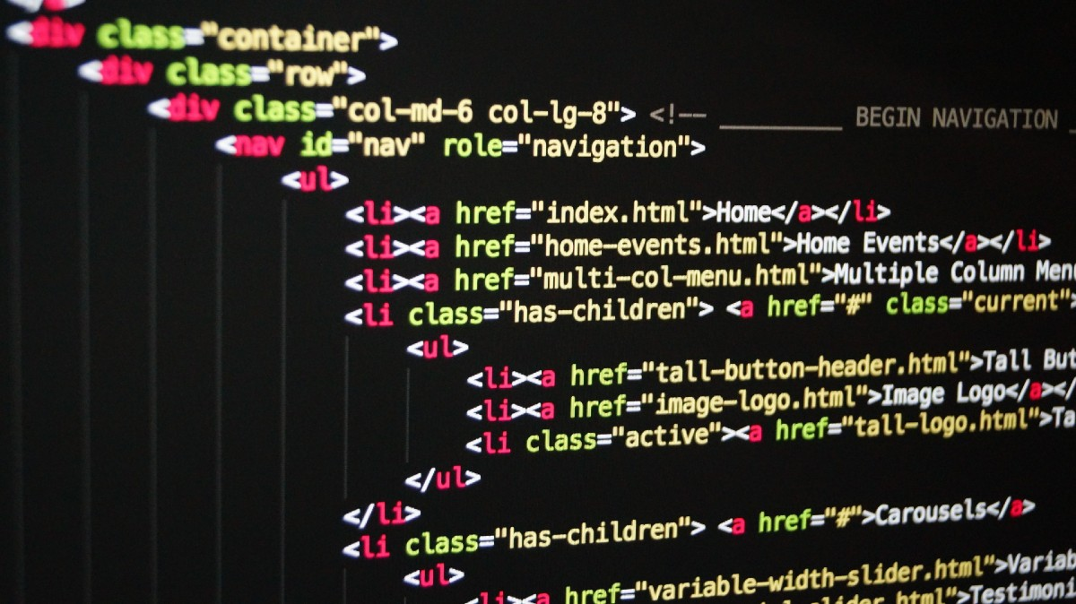 color-coded HTML code on a computer monitor