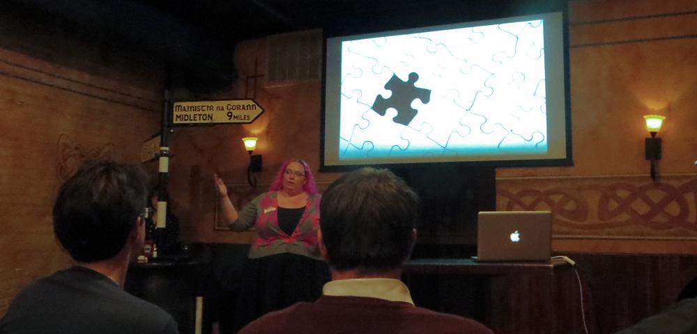 Kat King speaking at Ignite UX Michigan