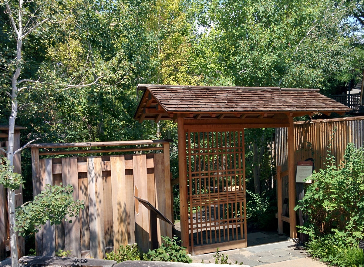 Wooden entry way welcomes you to the Japanese Garden