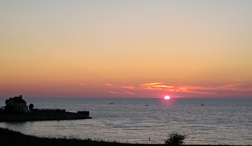 sunset over Lake Michigan in Bay Harbor, Michigan