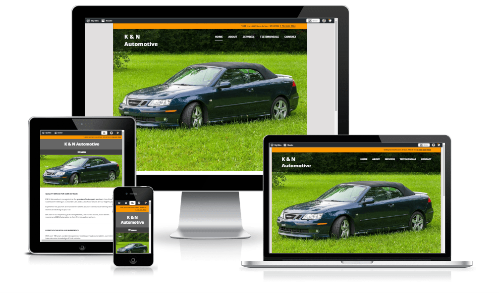 K & N Automotive website showing tablet, smartphone, laptop, and desktop views.