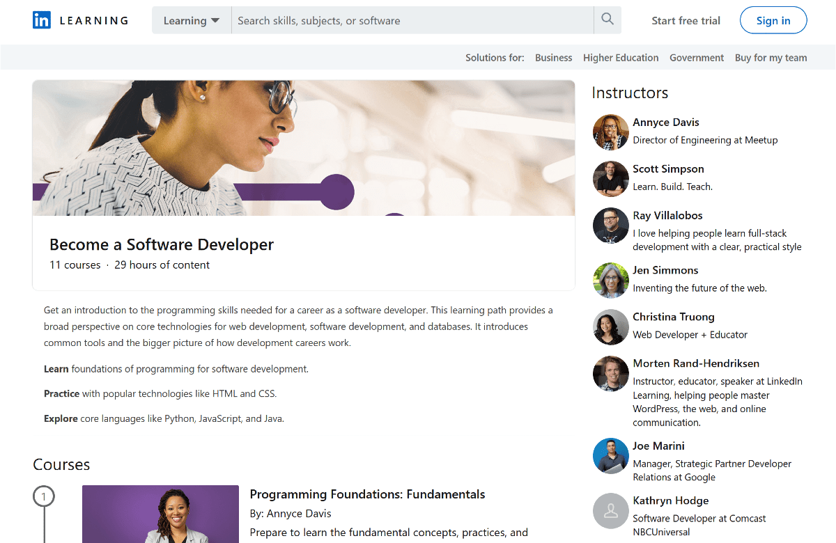 List of LinkedIn Learning software development classes along with list of course instructors