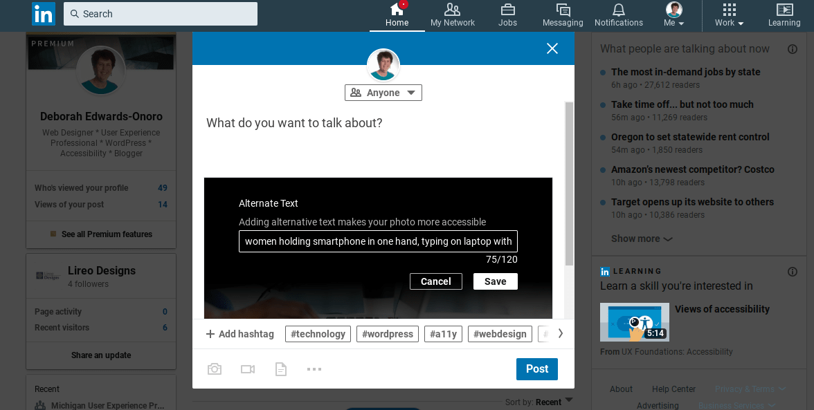 LinkedIn post with text entered into alternative text box.