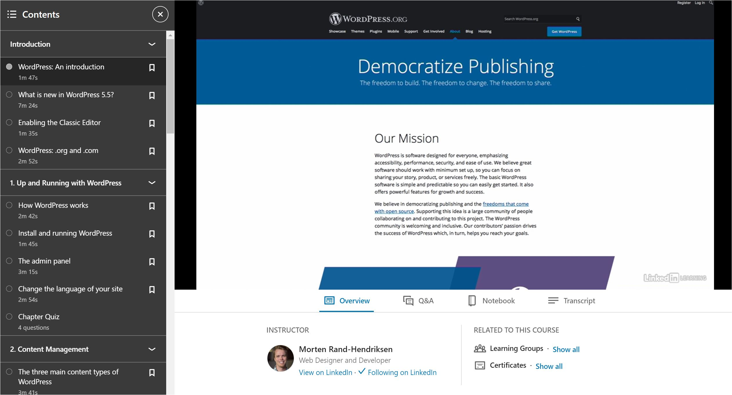 Democratize publishing screen from WordPress Essential Training course.