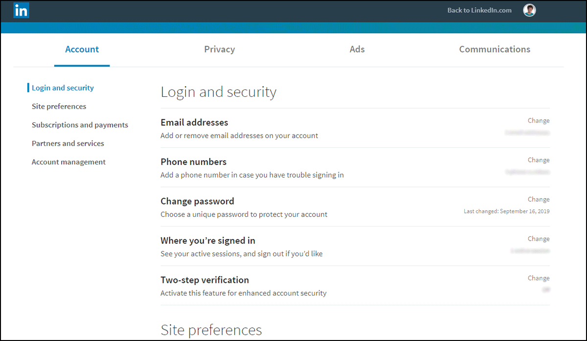 LinkedIn login and security page on desktop