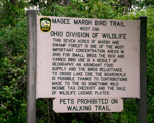 Sign at entrance of Magee Marsh boardwalk