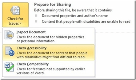 Office 2010 Accessibility Checker