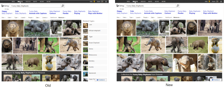 Microsoft Bing image search results, old interface vs. new interface