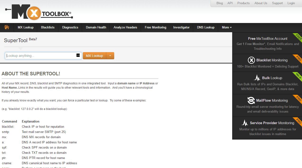 MXToolbox: DNS information