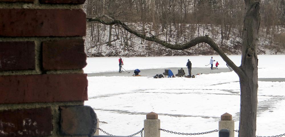Ice skating rink on Newburgh Lake