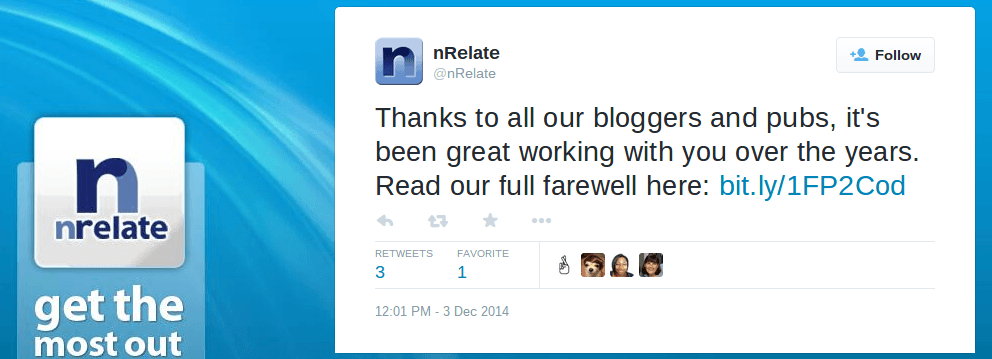 nRelate Twitter status: Thanks to all our bloggers and pubs. It's been great working with you over the years. Read our full farewell.