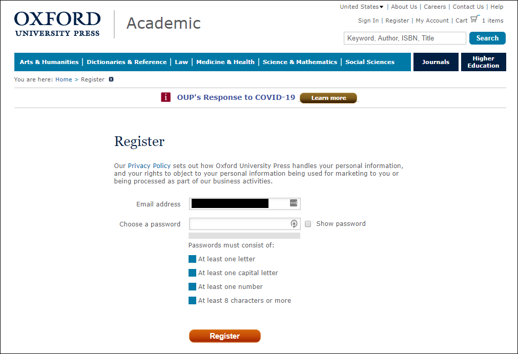 Oxford University Press account registration form with clearly stated password requirements.