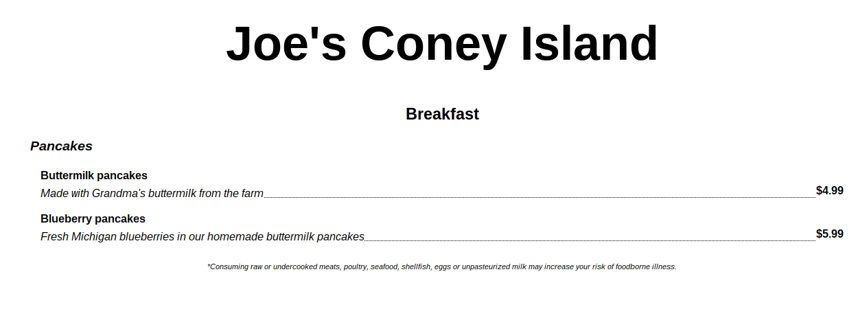 Joe's Coney Island breakfast menu, listing buttermilk pancakes at $4.99 and blueberry pancakes at $5.99