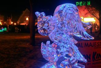 macaw ice sculpture lit up with purple light