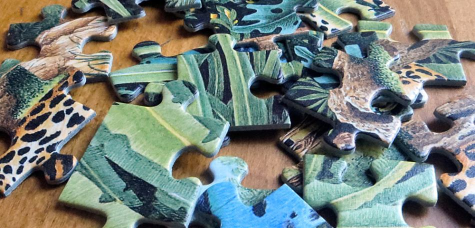 green and blue puzzle pieces strewn across a wooden table.s